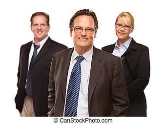 Businessman with Team Portrait on White