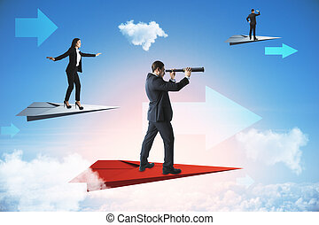 Businessman with telescope and businesswoman