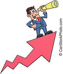 Businessman with telescope on arrow