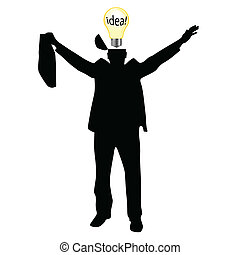 businessman with the idea vector silhouette