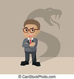 Businessman with the shadow of a snake in tow