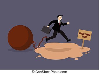Businessman with the weight jumping over the quicksand. Business concept