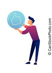 Businessman with thumb up sign vector illustration.