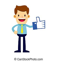 Businessman With Thumbs Up Like Symbol Foam