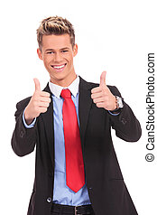 businessman with thumbs up ok gesture