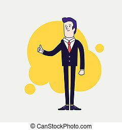 Businessman with Thumbs Up. Success businessman character. Linear flat design.