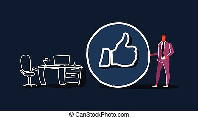 businessman with thumbs up symbol like icon successful social media marketing feedback concept workplace office interior full length gray background sketch doodle horizontal