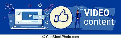 businessman with thumbs up symbol like icon successful social media marketing feedback video content concept laptop screen full length sketch doodle horizontal banner