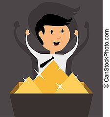 Businessman with treasure chest, flat design vector