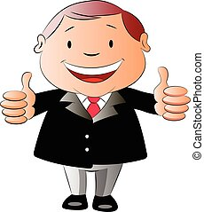 Businessman with Two Thumbs Up, illustration