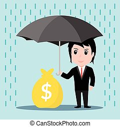 Businessman with umbrella in the rain protects