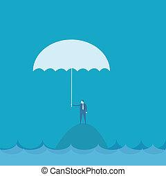 Businessman with umbrella riskconcept
