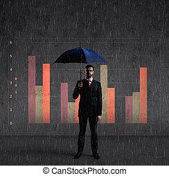 Businessman with umbrella standing over column diagram background. Business, default, change, crisis concept.