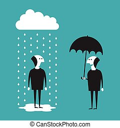 Businessman with umbrella vector concept in flat cartoon style