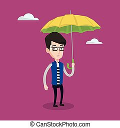 Businessman with umbrella vector illustration.