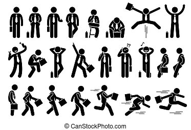 Businessman with various poses and actions.