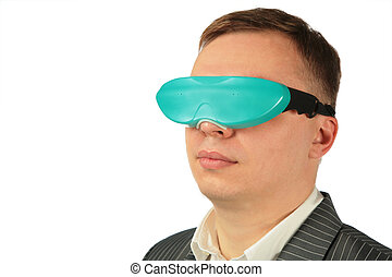 businessman with virtual glasses