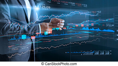 Businessman with virtual screen and data statistic index graph, analysis graph of stock market financial, stock exchange and stock market data concept.
