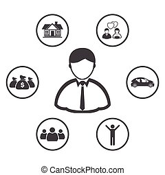 Businessman with Vision icons