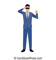 businessman with vr glasses icon, flat design