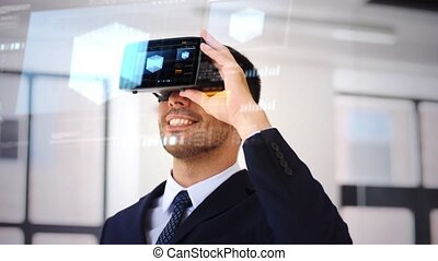 businessman with vr headset and cube on screen - business,...