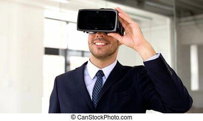 businessman with vr headset and score on screen - business,...