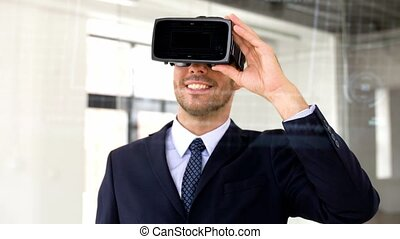 businessman with vr headset, score and coding - business,...
