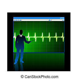businessman with web page internet background