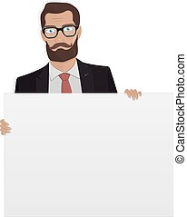 Businessman with white board for the website.