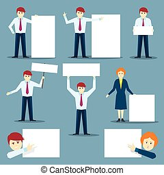 Businessman with white empty banners. Vector character set