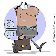 Businessman With Wind-up Key - Windup Hispanic Businessman...
