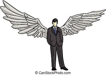 businessman with wing on his back vector illustration sketch doodle hand drawn with black lines isolated on white background