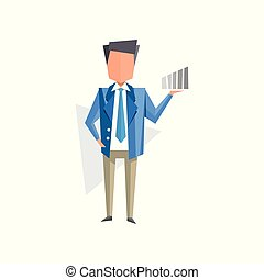 Businessman with with increasing graph or chart cartoon...