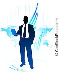businessman with world internet background