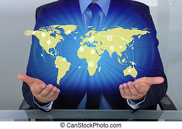 Businessman With World Map - Businessman With Digital World...