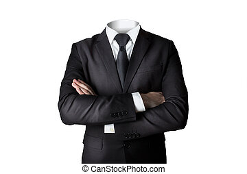 businessman without head isolated crossed arms - businessman...