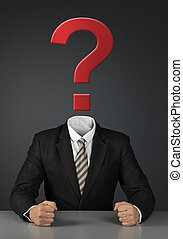 Businessman without head with question mark