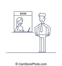Businessman without money nothing to pay the loan , the debt to the bank. Man is not the money to pay. Man in difficult financial situation. Banking system. Thin line vector illustration in flat style