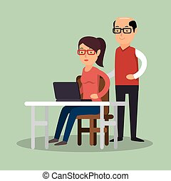 businessman work girl desk computer