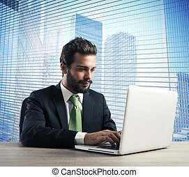 Businessman work with laptop