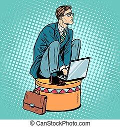 Businessman worker on a circus pedestal