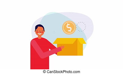 businessman worker with box and bitcoin ,hd video animation
