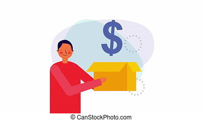businessman worker with box and money ,hd video animation