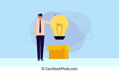 businessman worker with box carton and bulb ,hd video...
