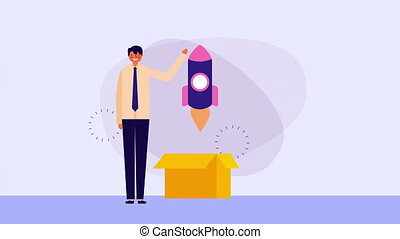 businessman worker with box carton and rocket ,hd video...