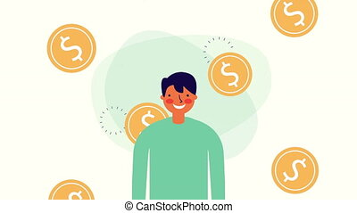 businessman worker with coins money ,hd video animation
