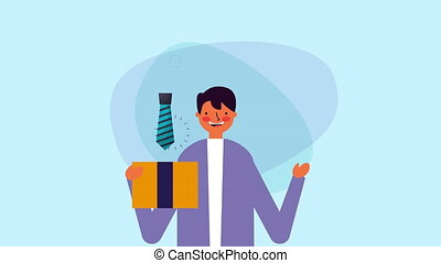 businessman worker with giftbox ,hd video animation