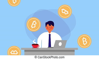 businessman worker with laptop and bitcoins money ,hd video...
