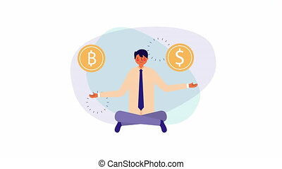 businessman worker with lotus position and bitcoins ,4k...