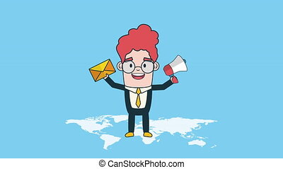 businessman worker with megaphone and envelope, hd video...
